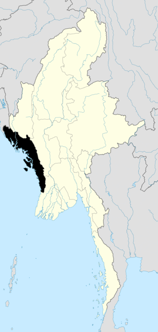 Map of Arakan in Burma (Myanmar)